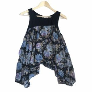 Painted Threads  Black Floral Tank Blouse